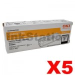 5 x OKI C5600 / 5700 Genuine Black Toner Cartridge - 6,000 pages (43324412)