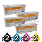 2 Sets of 4 Pack Genuine OKI C5800/5900/C5550MFP Toner Cartridges (43324425-43324428) [2BK,2C,2M,2Y]