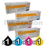 4 Pack OKI C5600 / 5700 Genuine Toner Cartridges (43381909-43324412) [1BK,1C,1M,1Y]