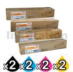 2 Sets of 4 Pack OKI C3300/ C3400/ C3600 Genuine Toner HY Cartridges (43459312-43459355)