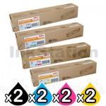 2 sets of 4 Pack OKI C3530MFP, C3520MFP Genuine Toner Cartridges (43459325-43459328)