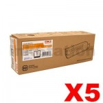 5 x OKI C5650, C5750 Genuine Black Toner Cartridge - 8,000 pages (43865712)