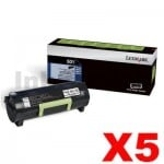 5 x Lexmark 503H (50F3H00) Genuine MS310 / MS312 / MS410 / MS415/ MS510 / MS610 High Yield Toner Cartridge - 5,000 pages