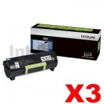 3 x Lexmark 603H (60F3H00) Genuine MX310 / MX410 / MX511 / MX611 Black High Yield Toner Cartridge - 10,000 pages