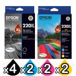 10 Pack Epson 220XL Genuine High Yield Ink Cartridge [4BK,2C,2M,2Y] [C13T294192,C13T294692]
