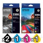 5 Pack Epson 220XL Genuine High Yield Ink Cartridge [2BK,1C,1M,1Y] [C13T294192,C13T294692]
