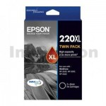 Epson 220XL Genuine Black High Yield Ink Twin Pack [C13T294194] [2BK] - 400 pages each