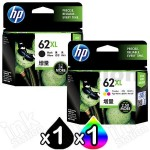 2 Pack HP 62XL Genuine High Yield Inkjet Cartridges C2P05AA + C2P07AA [1BK,1CL]
