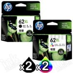 4 Pack HP 62XL Genuine High Yield Inkjet Cartridges C2P05AA + C2P07AA [2BK,2CL]