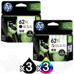 6 Pack HP 62XL Genuine High Yield Inkjet Cartridges C2P05AA + C2P07AA [3BK,3CL]