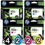 10 Pack HP 934XL + 935XL Genuine High Yield Inkjet Cartridges C2P23AA - C2P26AA [4BK,2C,2M,2Y]