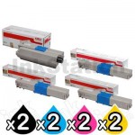 2 Sets of 4 Pack Genuine OKI C301/ C321 Toner Combo [2BK,2C,2M,2Y]