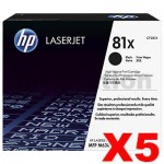 5 x HP CF281X (81X) Genuine Black Toner Cartridge - 25,000 Pages