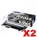 2 x Genuine Samsung CLP-360, CLP-365, CLX-3300, CLX-3305 [CLT-K406S K406] Black Toner SU120A - 1,500 pages