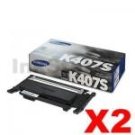 2 x Genuine Samsung CLP-320N, CLP-325, CLX-3180, CLX-3185 [CLT-K407S K407] Black Toner SU132A - 1,500 pages