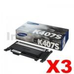 3 x Genuine Samsung CLP-320N, CLP-325, CLX-3180, CLX-3185 [CLT-K407S K407] Black Toner SU132A - 1,500 pages