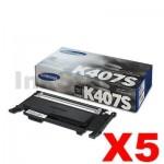 5 x Genuine Samsung CLP-320N, CLP-325, CLX-3180, CLX-3185 [CLT-K407S K407] Black Toner SU132A - 1,500 pages