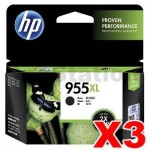 3 x HP 955XL Genuine Black High Yield Inkjet Cartridge L0S72AA - 2,000 Pages
