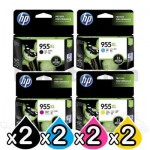 2 sets of 4 Pack HP 955XL Genuine High Yield Inkjet Combo L0S63AA - L0S72AA [2BK,2C,2M,2Y]