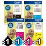 4 Pack Genuine Brother LC-233 Ink Combo [BK+C+M+Y]