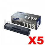 5 x Samsung SLM2020, SLM2070 (MLT-D111S) Genuine Black Toner Cartridge SU812A - 1,000 pages