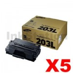 5 x Genuine Samsung SLM3820 / SLM3870 / SLM4020 / SLM4070 (MLT-D203L 203L) High Yield Black Toner SU899A - 5,000 pages