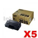 5 x Genuine Samsung SLM3820 / SLM3870 / SLM4020 / SLM4070 (MLT-D203S 203S) Standard Yield Black Toner SU909A - 3,000 pages