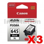 3 x Canon PG-645XL Genuine Black High Yield Ink Cartridge - 400 pages