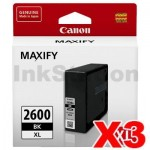 3 x Canon PGI-2600XLBK Genuine Black High Yield Ink Cartridge - 2,500 pages
