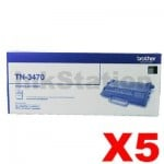 5 x Brother TN-3470 Genuine Toner Super High Yield - 12,000 pages