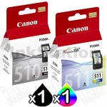 2 Pack Canon PG-510 CL-511 Genuine Ink Cartridges [1BK,1C]