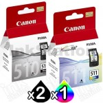 3 Pack Canon PG-510 CL-511 Genuine Ink Cartridges [2BK,1C]