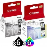 12 Pack Canon PG-510 CL-511 Genuine Ink Cartridges [6BK,6C]