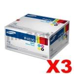 3 sets of 4-Pack Genuine Samsung CLP-320N, CLP-325, CLX-3180, CLX-3185 CLT-P407C Value Pack Toner SU388A [3BK,3C,3M,3Y]