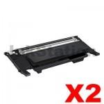 2 x Compatible Samsung CLP-320N, CLP-325, CLX-3180, CLX-3185 [CLT-K407S K407] Black Toner SU132A - 1,500 pages