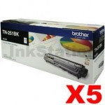 5 x Brother TN-251BK Genuine Black Toner Cartridge - 2,500 pages