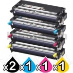 5 Pack Fuji Xerox DocuPrint C2100 / C3210DX Compatible Toner Cartridges (CT350485-CT350488)