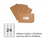100 Sheets A4 White Self Adhesive Paper Address Mailing Laser Inkjet Sticker Labels 64 x 33.8mm - 24 Labels Per Sheet