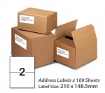 100 Sheets A4 White Self Adhesive Paper Address Mailing Laser Inkjet Sticker Labels 297 x 148.5mm - 2 Labels Per Sheet