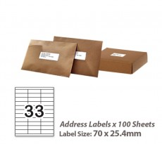 100 Sheets A4 White Self Adhesive Paper Address Mailing Laser Inkjet Sticker Labels 70 x 25.4mm - 33 Labels Per Sheet