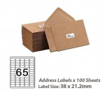 100 Sheets A4 White Self Adhesive Paper Address Mailing Laser Inkjet Sticker Labels 38 x 21mm - 65 Labels Per Sheet