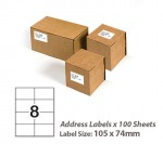 100 Sheets A4 White Self Adhesive Paper Address Mailing Laser Inkjet Sticker Labels 105 x 74mm - 8 Labels Per Sheet