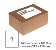 100 Sheets A4 White Self Adhesive Paper Address Mailing Laser Inkjet Sticker Labels 297 x 210mm - 1 Label Per Sheet