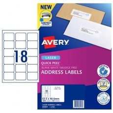 AVERY #959002 Quick Peel White Address Labels with Sure Feed LASER 18UP 63.5 x 46.6mm - L7161 (1800 Labels/100 Sheets)