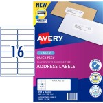 AVERY #959003 Quick Peel White Address Labels with Sure Feed LASER 16UP 99.1 x 34mm - L7162 (1600 Labels/100 Sheets)