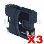 3 x Compatible Brother LC-137XLBK Black Ink Cartridge - 1,200 Pages