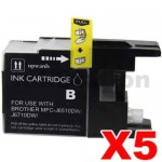 5 x Brother LC73/LC77XLBK Compatible Black High Yield Ink Cartridge - 1,200 pages