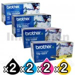 2 Sets of 4 Pack Brother TN-155 Genuine Toner Combo[2BK,2C,2M,2Y]  (TN155 is High Capacity Version of TN150)