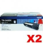 2 x Genuine Brother TN-340BK Black Toner Cartridge - 2,500 pages