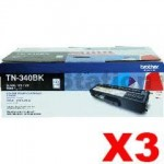 3 x Genuine Brother TN-340BK Black Toner Cartridge - 2,500 pages